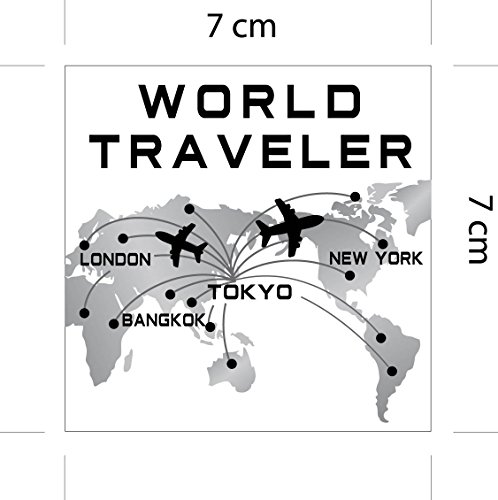海外旅行観光地ステッカー ワールドトラベラー デザインB 世界地図 防水紙シール スーツケース・タブレットPC・スケボー・マイカーのドレスアップ・カスタマイズに