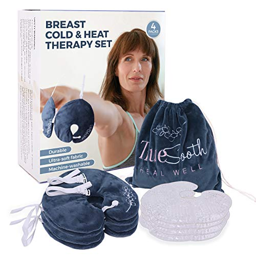 Hot Cold Breast Therapy Packs, 4 Reusable Gel Packs, 4 Soft Washable Covers, 1 Set of Adjustable Bra Straps; Relief Breast Pain During Post Surgery Recovery, PMS, Menopause or IVF; by TrueSooth