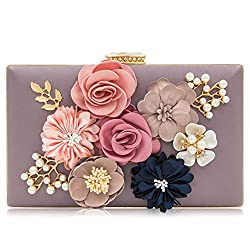 Floral Violet Clutch With Pearls and Rhinestones Purse