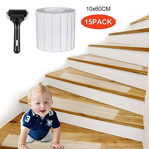 Jooheli Antirutschstreifen Treppe, 15 Stück Antirutschstreifen für Treppen, Rutsch Streifen Transparent Stufenmatte Treppen Rutschschutz Treppenstufen Matten mit Rolle Werkzeug (10 x 60cm)
