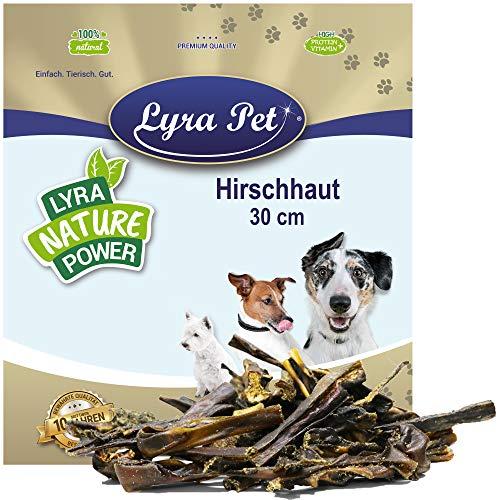 Lyra Pet® 1 kg Hirschhaut 30 cm Hundefutter Snack fettarm schonend getrocknet getrocknet Leckerli Kausnack Kauartikel für Hunde Kauspaß