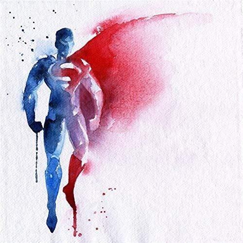 SDFSD Cartoon Aquarell Graffiti Hollywood Filmfigur Superheld Eisengrüner Mann Helden Leinwand Malerei Kunst Bild Poster Schlafzimmer Wohnkultur 40X40CM