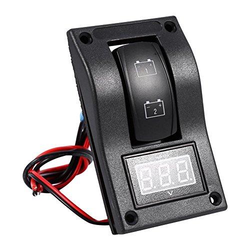 Panneau de Test de Batterie, Keenso Interrupteur à Bascule Panneau Rétro-éclairage LED Voltmètre 12V DC pour Bateau de Voiture Marine ON-OFF-ON