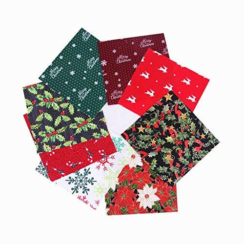 MoonyLI Christmas Cotton Craft Fabric Bundle Patchwork Pretagliato Babbo Natale Ritagli di Stoffa per Natale Cucito Fai-da-Te Quilting Diversi Modelli di Panni 20x25cm