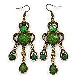 Style victorien Vert/olive Acrylique Perle Lustre Boucles d'oreilles en ton doré...