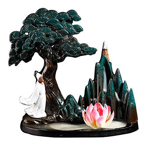 XYSQWZ Creativo Bruciatore di Incenso A Riflusso Cascata di Montagna Zen Bella Scena Porta Incenso in Ceramica Fatto A Mano con Coni di Incenso Oggettistica per La Casa Rosa