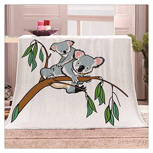 Manta Ilustraciones de Patrones Divertidos, Franela manta for niños y adultos, manta impresa súper blando Sherpa caliente mantas polar koala de dibujos animados Couch Mantas for la sala de estar sofá