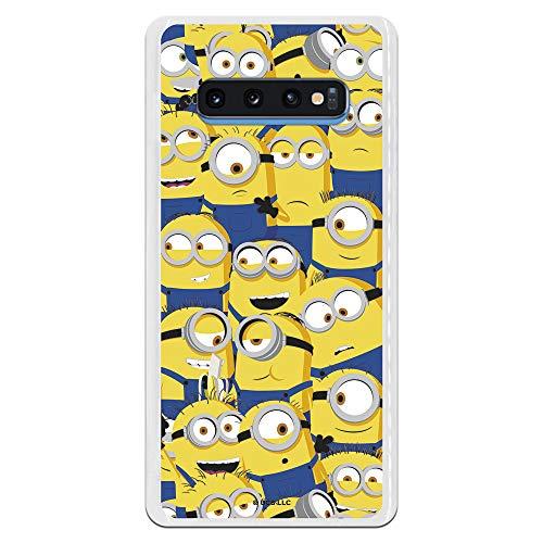 Funda para Samsung Galaxy S10 Plus Oficial de Los Minions Los Minions Caras para Proteger tu móvil. Carcasa para Samsung de Silicona Flexible con Licencia Oficial de Universal.