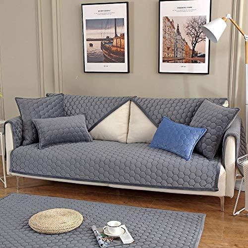 Suuki Protector Cubierta de Muebles,Fundas de sofá Gruesas de Invierno,Protector de sofá Acolchado de Felpa,Toalla de cojín de sofá Resistente al Desgaste,Funda para sofá de Perro Gato Gris