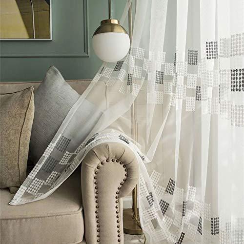 HM&DX Bestickt Voile Vorhänge ösen,1 Panel Lichtfilterung Vorhang Drapieren,modern Tüll-vorhänge Home Decor Weiß 350x270cm(138x106in)