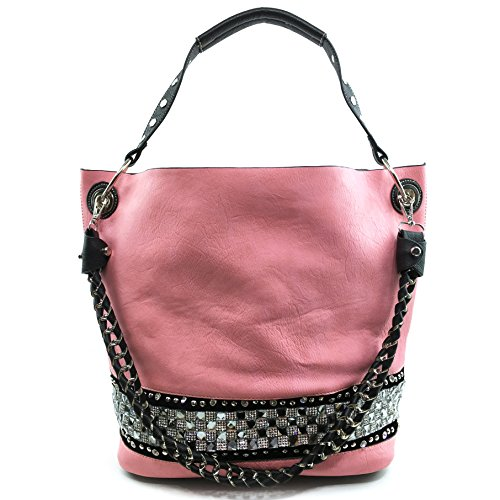 Justin West Concealed Carry Rhinestone Bling Crystal Pastel Cross Body Large Handbag Tote Purse Black Makeup Pouch Bag Wallet (Pink)