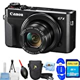 Canon PowerShot G7 X Mark II Digital Camera (Black) Starter Bundle with Camera Pouch, 32GB SD Card, Memory Card Reader, Microfiber Cloth, Blower, Cleaning Kit