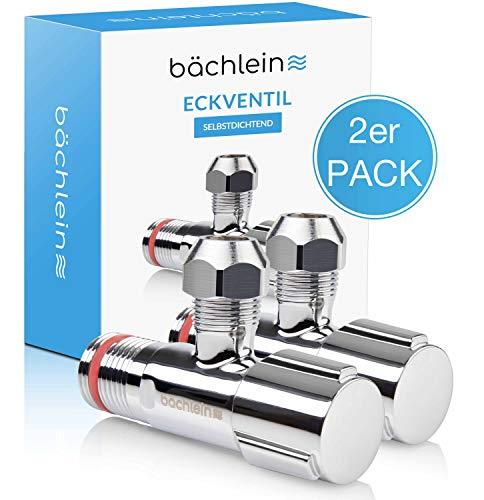 Bächlein Universal Eckventil selbstdichtend [2er Set], Eckregulierventil für Kalt- und Warmwasserleitungen mit klassischem Schraubverschluss