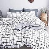 AShanlan Juego de cama de 3 piezas de microfibra, diseño a cuadros, color blanco y negro, 200 x 220 cm, funda de edredón con fundas de almohada de 80 x 80 cm