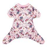CuteBone Dog Pajamas Pink Unicorn Dog Apparel Dog Jumpsuit Pet Clothes Pajamas Puppy Clothes P67M