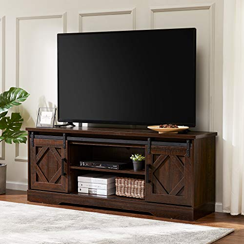 WAMPAT Farmhouse Sliding Barn Door TV Stand for TVs Up to 65 inch, Modern Storage Entertainment Center, Wood Media Console Table Cabinet 3-Level Adjustable Shelf for Living Room, Rustic Brown