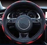 ISTN Housse de volant de voiture en similicuir synthétique respirant 38 cm Rouge