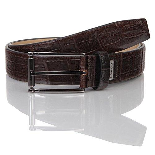 Lindenmann G.CHABROLLE Mens leather belt/Mens belt, business belt, leather belt curved with print, dark brown, Größe/Size:105, Farbe/Color:marron