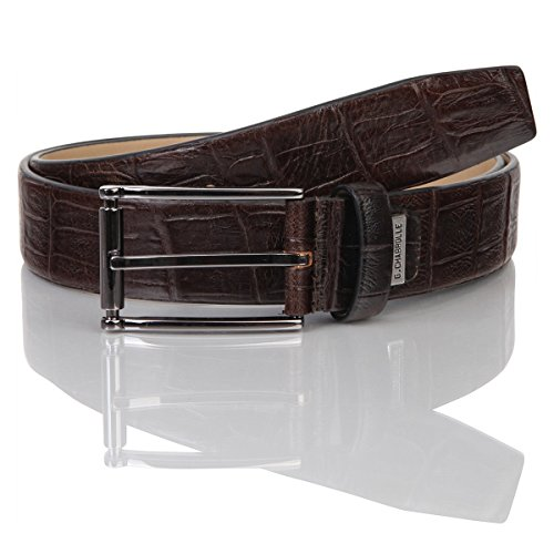 Lindenmann G.CHABROLLE Mens leather belt/Mens belt, business belt, leather belt curved with print, dark brown, Größe/Size:105, Farbe/Color:marron