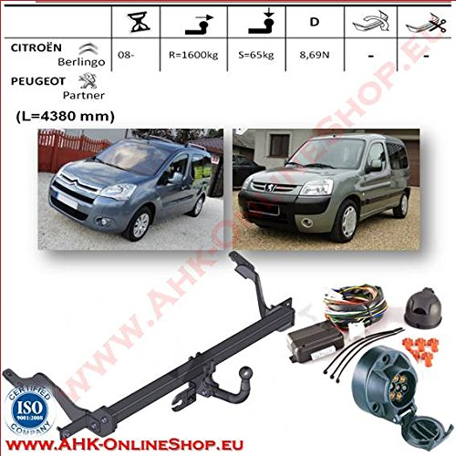 AHK Anhängerkupplung mit Elektrosatz 7 polig für Citroen Berlingo / Peugeot Partner II (4380 mm) 2008- Anhängevorrichtung Hängevorrichtung - starr, mit angeschraubtem Kugelkopf
