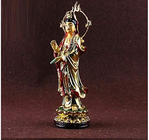 LOSAYM Statue Guanyin Harz Statue Kleine Buddha Figur Avalokiteshvara Ca. 22Cm Höhe Figur