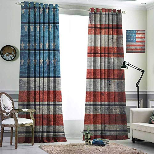 Jktown USA Blackout Curtains Blackout Draperies for Baby Bedroom 72x108 inch July Independence Day Weathered Antique Wooden Looking National Celebration Image Blue Red White