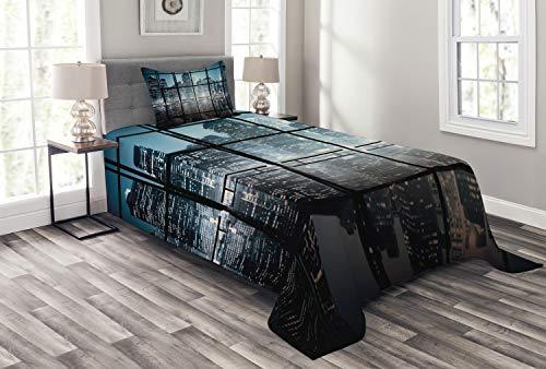 ABAKUHAUS Modern Tagesdecke Set, New York bei Nacht-Landschaft, Set mit Kissenbezug Mit Digitaldruck, für Einzelbetten 170 x 220 cm, Dunkelblau Schwarz