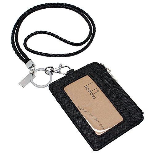 Boshiho Saffiano piel Badge Holder ID titular de la tarjeta con moneda cambio cartera, color Black with Keychain 4.3 x 3.3 x 0.2 inch