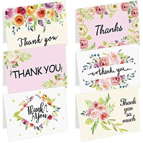 36 Floral Thank You Cards with Envelopes Flower Greeting Cards for Baby Shower Graduation Wedding Blank Inside