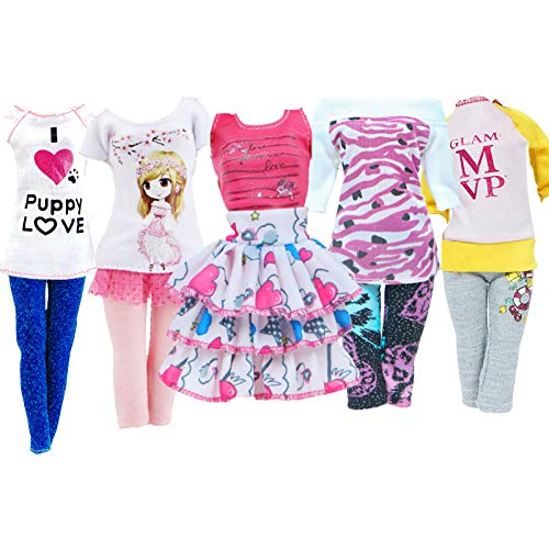 BJDBUS 5 Sets Handmade Fashion Outfit Shirt Vest Skirt Trousers Pants Clothes for 11.5 inch Girl Doll Accessories Daily Casual Wear
