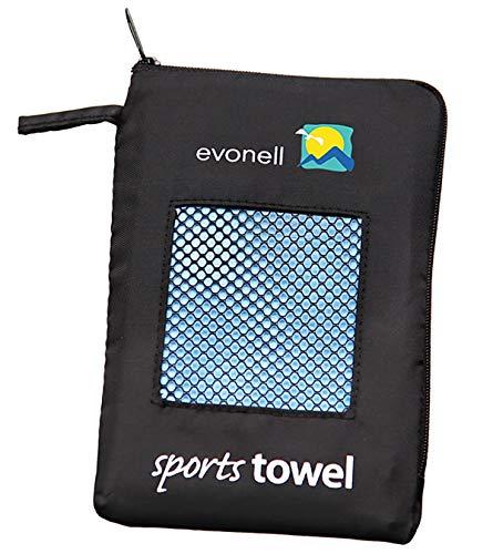 Evonell ultraleichte. schnell trocknende Sport und Trekking Towels Sporthandtuch aus Mikrofaser, Größe: 30 x 120 cm, Farbe: blau