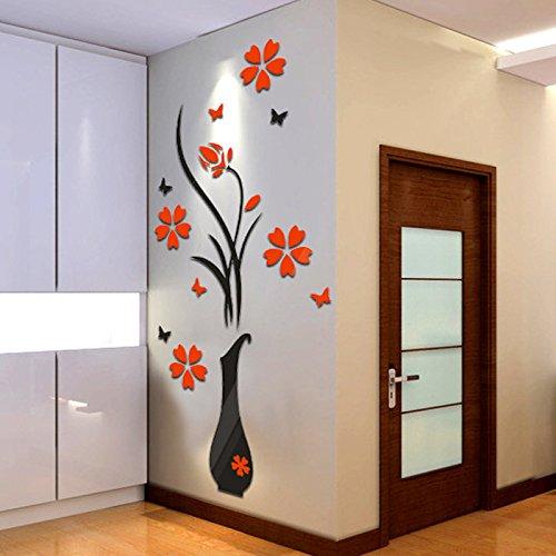DIY Home Decor Vase Simle Fleur Arbre Affiches Décoration Cristal Arcylic 3D Stickers Muraux Decal Home Decor pour La Maison, 400x800mm, Un