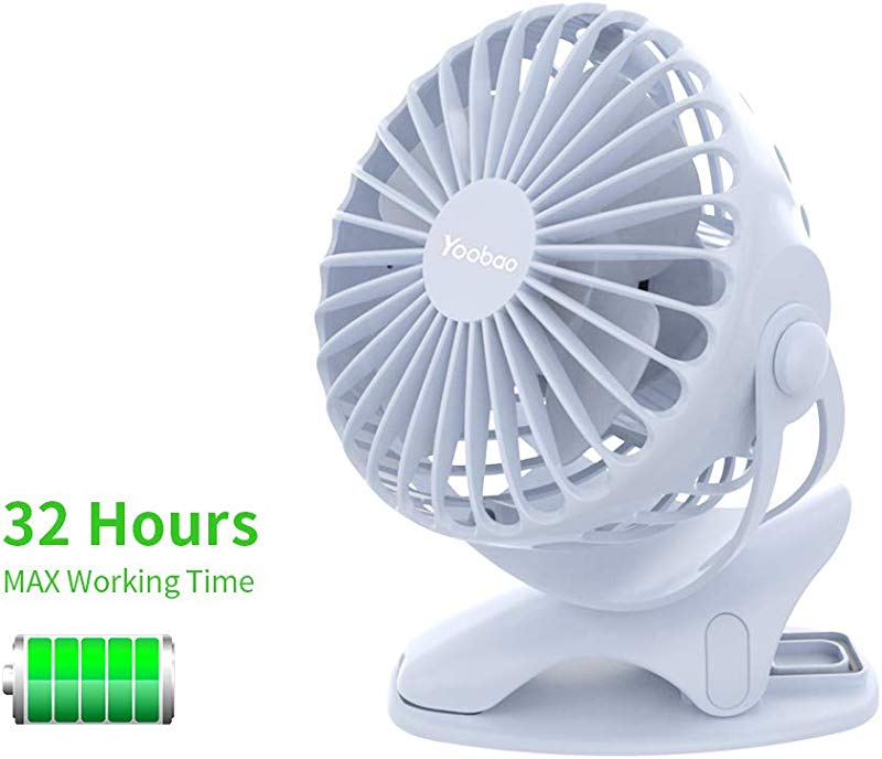 Yoobao Clip On Stroller Fan 6400mAh Battery Operated Portable Fan 32 Hours Rechargeable Mini USB Rotating Quiet Personal Desk Fan 4 Speeds For Baby Outdoors Bedroom Kitchen Blue