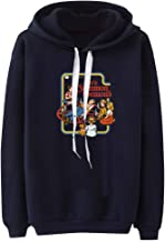 Holzkary Women's Plus Size Pullover Thermal Long Sleeve Print Hooded Sweatshirt Tops with Drawstring