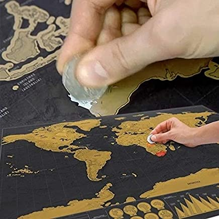QIingTanger Luxury Version Black Scratch Map Scraping Paper Travel Footprint Without Tube