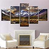 5 Piece Canvas Montañas Nevadas Y Meseta Bajo El Brillo De Carteles Aceitosos Decoración Del Hogar Fotos De Arte De Pared Sin Marco