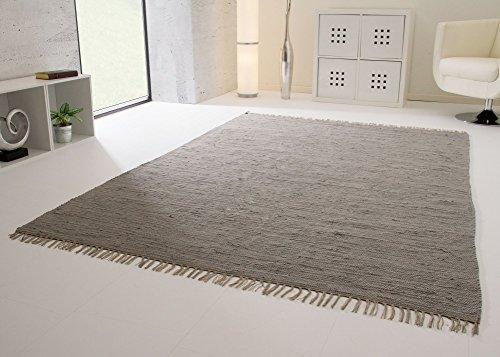 Handwebteppich Indira in Grau - Handweb Teppich aus 100% Baumwolle Fleckerl, Größe: 40x60 cm