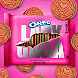 OREO Lady Gaga Inspired Sandwich Cookies 1- 12.2 oz Pack. Pink-colored golden cookies with green creme 3 embossed cookie designs.