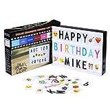 Powerextra A4 Leuchtschilder mit 16 Farbwechsel, Light box mit 265 Buchstaben (95 Schwarzbuchstaben + 85 Farbbuchstaben + 85 Emojis) Light Box für Wohnkultur Party Hochzeiten dekorieren Geschenk