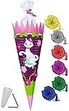 alles-meine.de GmbH BASTELSET Schultüte -  Katze & Blumen  - 85 cm - incl. Schleife - mit / ohne Kunststoff Spitze - Zuckertüte - Set zum selber Basteln - 6 eckig / lila - Kind..