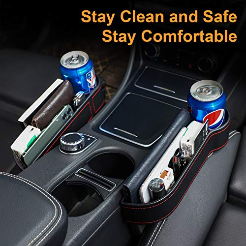 ZREE Car Seat Gap Filler, Car Seat Organizer Front Seat Gap Filler, Car Console Side Organizer with Cup Holder, Multifunctional car seat Organizer (2 Pack)