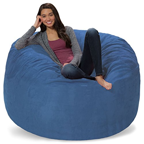 Comfy Sacks 5 ft Memory Foam Bean Bag Chair, Royal Blue Micro Suede