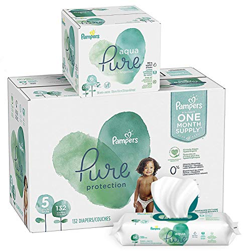Pampers Pure Protection Diapers Size 5 132 Count with Aqua Pure 6X Pop-Top Sensitive Water Baby Wipes - 336 Count