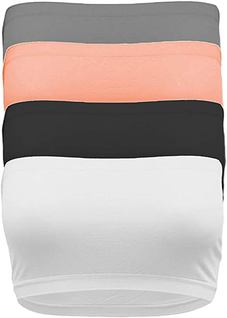 HHmei 4 PCS Super-cheap Women's Solid Strapless Seamless Ranking TOP1 Layer Base B Active