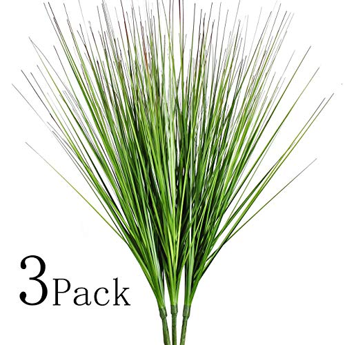27' Artificial Plants Onion Grass Greenery Faux Fake Shrubs Plant Flowers Wheat Grass for House Home Indoor Outdoor Office Room Gardening Indoor Décor 3 Pack