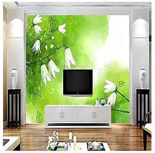 Fototapete 3D Weiße Maiglöckchen-Tapete für Wände 3D Kunst Grüne Frische Wandverkleidung Wohnzimmer Wohnkultur TV Wand