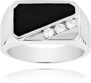 Luxurman 14K Rose, White or Yellow Gold Men's Diamond Polished Onyx Ring For Him 0.3 Ctw