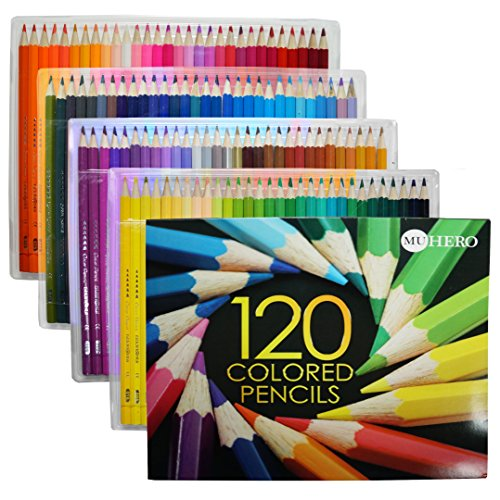 Hero MU-GH120-1 Colored Pencils, Oil Pencils for Art Students and Professionals, Assorted Colors for Sketch Coloring Pages for Kids and Adults, Set of 120