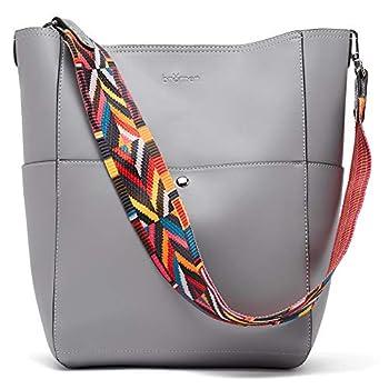 BROMEN Women Handbag Designer Vegan Leather Hobo Handbags Shoulder Bucket Crossbody Purse Grey