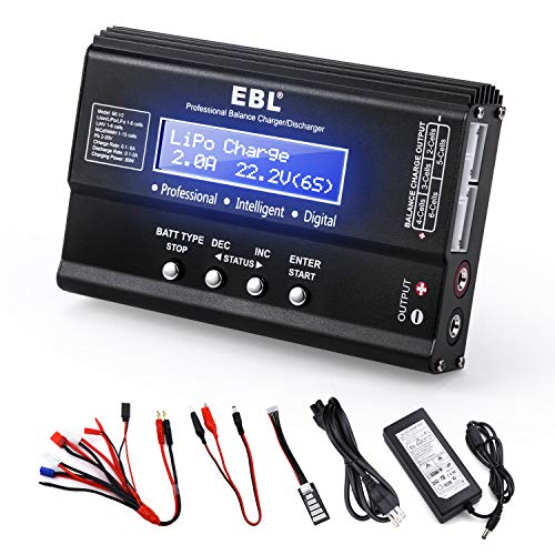 EBL 1S-6S Lipo Battery Charger Discharger Balance Battery Charger RC Battery Pack Charger for Li-PO/NiMH/NiCD/Li-Fe/LiHV/Li-ion Packs LCD Hobby Battery Charger with AC Power Adapter